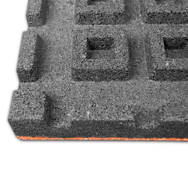 High elastic composite rubber tile with grid bottom