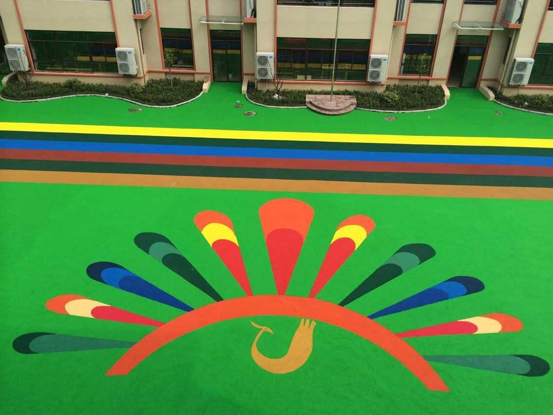 EPDM rubber particles installed on the kindergarten outdoor floor can be made into various delicate patterns